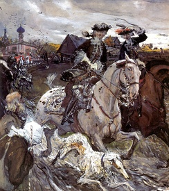 Peter II departure and Empress Elizabeth Petrovna on hunting, 1900, Russian Museum