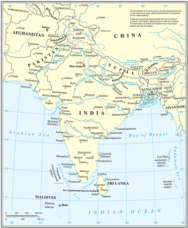 United Nations cartographic map of South Asia.[15] However, the United Nations does not endorse any definitions or area boundaries.[note 1]