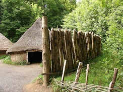 Reconstruction of a palisade in a Celtic village at St Fagans National History Museum, Wales