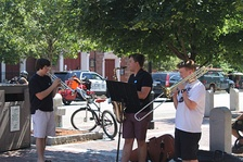 Street musicians perform across from North Church (July 2014)