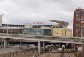 Exterior of Target Field, including a view of the commuter platform at Target Field station.