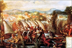 The capture of Cuauhtemoc. 17th century, oil on canvas.