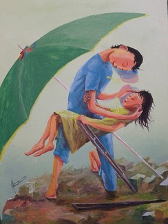 """The Last Polio Victim"" Painting by D3770 Rotarian known Folk Painter Elito ""AmangPintor"" Circa"