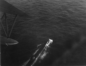 German submarine U-199 under attack by Brazilian Air Force PBY Catalina during the Battle of the Atlantic, 1943.