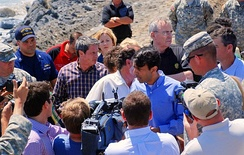 Governor Jindal and local officials discuss the operations in response to the 2010 Gulf of Mexico oil spill