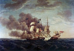 USS Constitution vs HMS Guerriere during the War of 1812