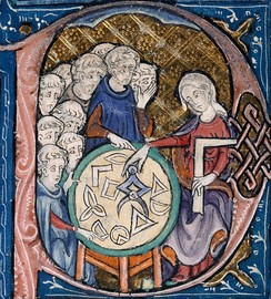 Woman teaching geometry. Illustration at the beginning of a medieval translation of Euclid's Elements, (c. 1310)