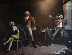 Imaginary meeting between Robespierre, Danton and Marat (illustrating Victor Hugo's novel Ninety-Three ) by Alfred Loudet