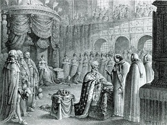 The anointment of King Frederick VI at Frederiksborg Palace on 31 July 1815. The ceremony was postponed due to the Napoleonic Wars.