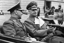 Poglavnik Ante Pavelić (left) of the Independent State of Croatia and Joachim von Ribbentrop in Salzburg, 6 June 1941