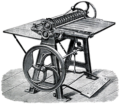 A Oscar Friedheim card cutting and scoring machine from 1889, capable of producing up to 100,000 visiting and business cards a day