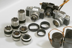 Camera with array of lenses and filters