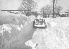 Snow drifts made travel difficult in parts of New York (February 7, 1977), shown is the city of Buffalo