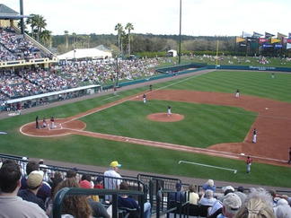A spring training game between the Atlanta Braves and the Mets, 2008