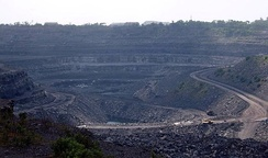 A coal surface mining site in Bihar, India