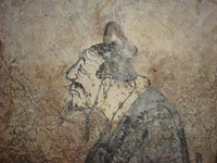 A Western Han (202 BC – 9 AD) fresco depicting Confucius (and Laozi), from a tomb of Dongping County, Shandong province, China