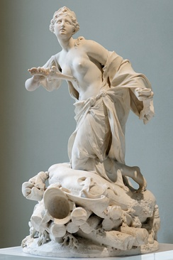 The suicide of Queen Dido (book 4), sculpture by Claude-Augustin Cayot [fr] (1667–1722)