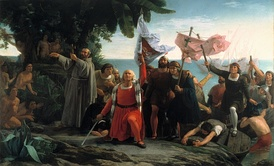 Romantic painting of Christopher Columbus arriving to the Americas (Primer desembarco de Cristóbal Colón en América), by Dióscoro Puebla (1862)