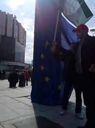European flag in Bulgaria torn down by supporters of the Eurosceptic party Attack