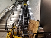 An escalator with its steps removed