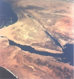 Northern section of the Great Rift Valley. The Sinai Peninsula is in center and the Dead Sea and Jordan River valley above