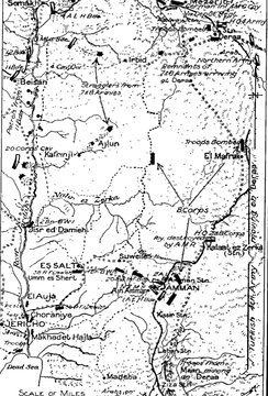 Gullett's Map 43 shows Ziza and Jericho to Semakh and Deraa with positions of the 4th Light Horse Brigade at Samakh, the 4th Cavalry Division, retiring Ottoman forces, the Ottoman Fourth Army headquarters at Deraa and Chaytor's Force at Amman on 25 September