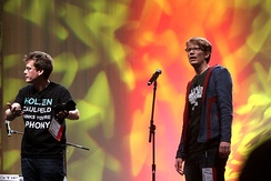 Hank (right), with his brother, John, at VidCon 2012