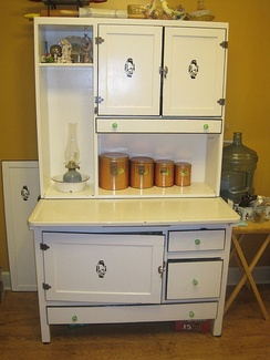 A typical Hoosier cabinet of the 1920s