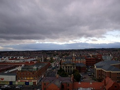 A view of the town facing west from the viewing platform built into the Christ Church tower.