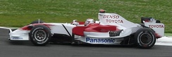Trulli driving for Toyota at the 2008 French Grand Prix, where he scored the team's first podium finish for more than two years