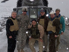 Then-Senators Joe Biden, John Kerry, and Chuck Hagel in Kunar Province in Afghanistan, February 20, 2008