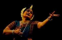 The performer is in an Odissi Dance Abhinaya, based on the popular Indian epic-Ramayan
