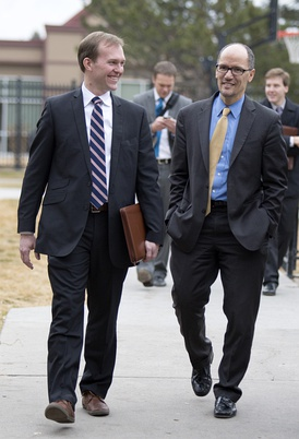 Salt Lake County Mayor Ben McAdams and U.S. Secretary of Labor Tom Perez visit Palmer Court, the Road Home's permanent supportive housing development, in Salt Lake City, Utah, on Friday, January 30, 2015.