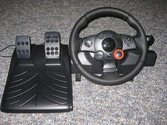 A Logitech Driving Force GT wheel and pedals