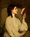 Miss Auras, by John Lavery, depicts a woman reading a book