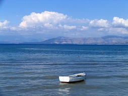 The Ionian Sea, as seen from Corfu Island, Greece, and with Saranda, Albania in the background