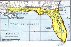 Map of East and West Florida in 1819, the year that Spain ceded Florida to the United States by the Adams–Onís Treaty (ratified 1821)