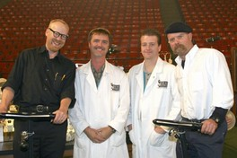 Adam Savage and Jamie Hyneman at the Discovery Channel Young Scientist Challenge pose with Skulls Unlimited International's Jay Villemarette and Joey Williams 2004.