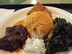 Nasi Padang with rendang, gulai and vegetables