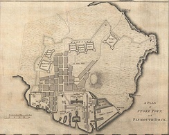 "A ""Plan of Stoke Town and Plymouth Dock"" dated 1765 showing the course of the Devonport Lines as well as the docks and gun wharf."