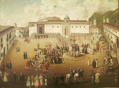Major square of Quito. Painting of 18th century. Quito Painting Colonial School.