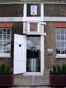 The astronomic prime meridian at Greenwich, England. The geodetic prime meridian is actually 102.478 meters east of this point since the adoption of WGS84.