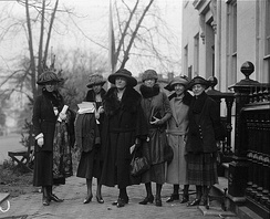 Prominent women at equal rights conference at Woman's Party. L to R: Mrs. Agnes Morey, Brookline, Mass.; Miss Katherine Morey, Brookline, Mass. & State Chairman of the Woman's Party; Elsie Hill, Norwalk, Conn.; Mary Dean Powell, D.C.; Emma Wold, Portland, Oregon; Mabel Vernon, Wilmington, Del., 1922
