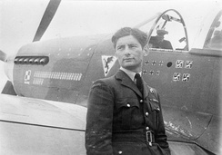 Squadron Leader Eugeniusz Horbaczewski, the CO of No. 315 Polish Fighter Squadron, standing by his new North American Mustang Mark III, at RAF Brenzett, Kent. He was shot down and killed on 18 August 1944, after destroying three Focke-Wulf Fw 190s to bring his score to 16 and a half victories.