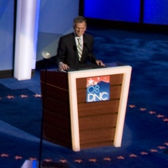 Daschle speaks during the third night of the 2008 Democratic National Convention in Denver, Colorado.