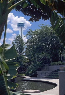 The River Walk with the Tower of the Americas in the background