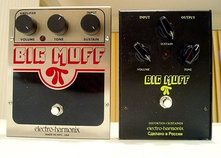 Big Muff fuzzboxes: a NYC re-issue (L) and a Russian Sovtek version (R)