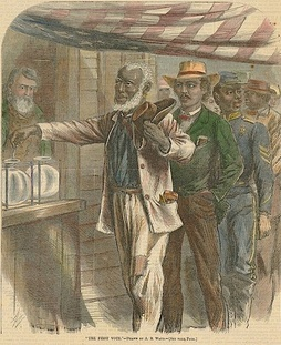 An 1867 drawing depicting African Americans casting ballots