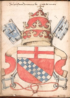 Arms of Innocent VIII (Giovanni Battista Cybo, 1484-1492) as shown in the contemporary  Wernigerode Armorial. The coat of arms of the House of Cybo is here shown with the papal tiara and two keys argent in one of the earliest examples of these external ornaments of a papal coat of arms (Pope Nicholas V in 1447 was the first to adopt two silver keys as the charges of his adopted coat of arms).[5]