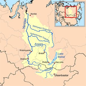 The Yenisey basin, which includes Lake Baikal